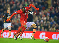 LIVERPOOL, ENGLAND - Wednesday, January 20, 2016: Liverpool's Christian Benteke in action against Exeter City during the FA Cup 3rd Round Replay match at Anfield. (Pic by David Rawcliffe/Propaganda)