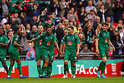 Goal Cray Valley's Gavin Tomlin (9) scores a goal and celebrates scores a goal 1-0 during the FA Vase final match between Chertsey Town and Cray Valley at Wembley Stadium, London, England on 19 May 2019.