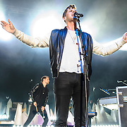 COLUMBIA, MD - May 10th, 2014 - Mark Foster (right) of Foster the People performs at the 2014 Sweetlife Festival at Merriweather Post Pavilion in Columbia, MD. The band released their sophomore album, Supermodel, in March. (Photo by Kyle Gustafson / For The Washington Post)