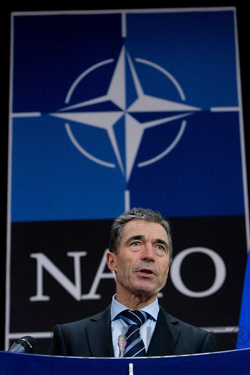 Anders Fogh Rasmussen, NATOs generalsekretær, holder  pressekonference i Luns-salen under udenrigsministermødet i NATOs hovedkvarter i Bruxelles den 4 december 2012. Foto: Erik Luntang