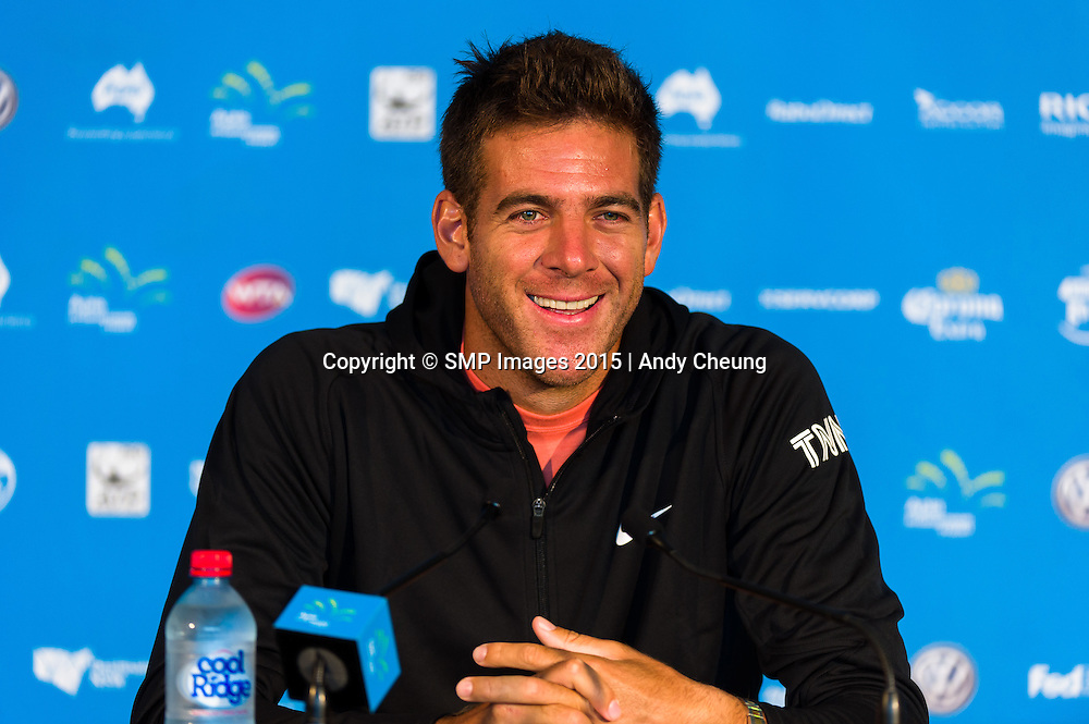 DEFENDING CHAMPION JUAN MARTIN DEL POTRO AT THE MEDIA CONFERENCE 2015 APIA SYDNEY INTERNATIONAL Andy Cheung – SMP IMAGES.COM - 11th January 2015