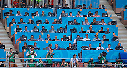 MOSCOW, RUSSIA - Sunday, June 17, 2018: Journalists and photographers in the media tribune during the FIFA World Cup Russia 2018 Group F match between Germany and Mexico at the Luzhniki Stadium. (Pic by David Rawcliffe/Propaganda)