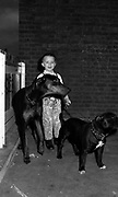 Boy with Dogs, High Wycombe, UK. 1980s.