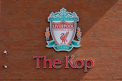LIVERPOOL, ENGLAND - Monday, August 3, 2020: Liverpool FC's club crest on the wall of the Spion Kop at their Anfield stadium. (Pic by David Rawcliffe/Propaganda)