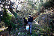Pandalis Theodorakis on the way to fix a water pipe on his property in Maza. Since years the lack of water became a big problem at the mountain village located close to Palaiochora which is a small town in Chania regional unit on the island of Crete, Greece.
