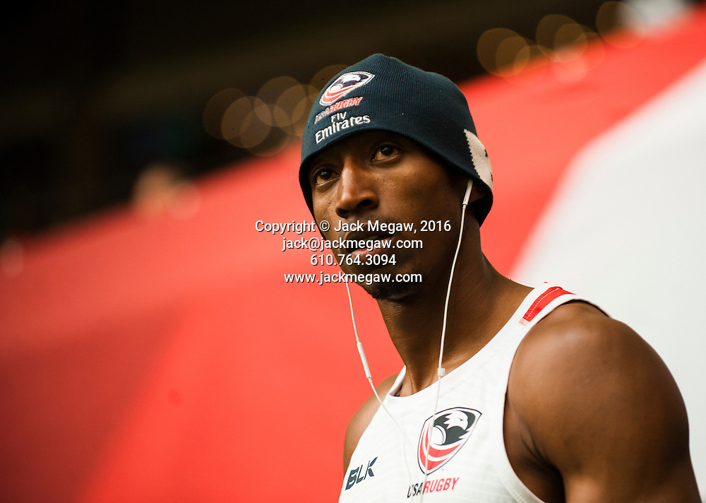 Perry Baker of the United States warms up during the pool stages of the 2016 Canada Sevens leg of the HSBC Sevens World Series Series at BC Place in  Vancouver, British Columbia. Saturday March 12, 2016.<br /> <br /> Jack Megaw<br /> <br /> www.jackmegaw.com<br /> <br /> 610.764.3094<br /> jack@jackmegaw.com