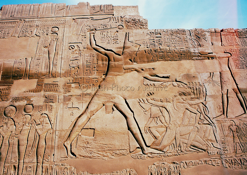 Seti I (Sethis or Sethos) Ancient Egyptian king of 19th dynasty, ruled 1318-1304 BC, father of Rameses II. Seti victorious in battle. Limestone relief, Karnak
