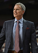 Feb 15, 2018; Los Angeles, CA, USA; Southern California Trojans coach Andy Enfield reacts during an NCAA basketball game against the Oregon Ducks at Galen Center. USC defeated Oregon 72-70.