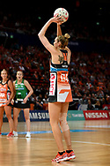 SYDNEY, AUSTRALIA - AUGUST 24: Jo Harten of the Giants takes a shot during the round 14 Super Netball match between the Giants and the West Coast Fever at Qudos Bank Arena on August 24, 2019 in Sydney, Australia.(Photo by Speed Media/Icon Sportswire)