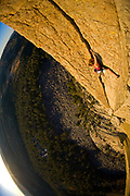 Christine Balaz on McCarthy's West Face Free Variation Pitch 2, 5.10b, Devil's Tower, WY