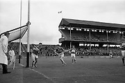 16/05/1965<br /> 05/16/1965<br /> 16 May 1965<br /> National Hurling League Final: Kerry v Laois at Croke Park, Dublin.<br /> Laois goalie, J Fennell (left) stops a fast shot with key forward, T. Driscoll (right) ready. He deflects the ball over the  line for a seventy yard free.