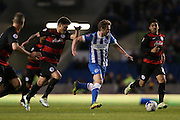 Brighton striker (on loan from Manchester United), James Wilson (21) breaks forward during the Sky Bet Championship match between Brighton and Hove Albion and Queens Park Rangers at the American Express Community Stadium, Brighton and Hove, England on 19 April 2016.