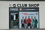 Morecambe club shop during the EFL Sky Bet League 2 match between Morecambe and Newport County at the Globe Arena, Morecambe, England on 16 September 2017. Photo by Mick Haynes.