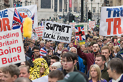 Westminster, London, March 23rd 2016 British farmers from across the UK march on Downing Street to deliver a petition calling for government support in securing fairer producer prices. &copy;Paul Davey<br /> FOR LICENCING CONTACT: Paul Davey +44 (0) 7966 016 296 paul@pauldaveycreative.co.uk