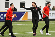 Craig Clay of Leyton Orient (8) shares a laugh with team mates after arriving at the ground before the Vanarama National League match between Harrogate Town and Leyton Orient at Wetherby Road, Harrogate, United Kingdom on 22 September 2018.