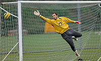 Photo: Daniel Hambury.<br />Arsenal Training Session. 06/12/2005.<br />Manuel Almunia cant stop this shot during training ahead of tomorrows Champions League game against Ajax.