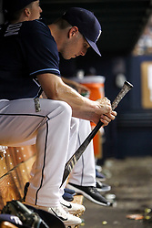 July 8, 2017 - St. Petersburg, Florida, U.S. - WILL VRAGOVIC   |   Times.Tampa Bay Rays designated hitter Corey Dickerson (10) retapes his bat in the dugout during the game between the Boston Red Sox and the Tampa Bay Rays at Tropicana Field in St. Petersburg, Fla. on Saturday, July 8, 2017. (Credit Image: © Will Vragovic/Tampa Bay Times via ZUMA Wire)