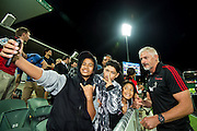 Todd Blackadder, coach of the BNZ Crusaders celebrates with the fans during the Canterbury Crusaders v the Western Force Super Rugby Match. Nib Stadium, Perth, Western Australia, 8th April 2016. Copyright Image: Daniel Carson / www.photosport.nz