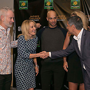 March 6, 2015, Indian Wells, California:<br /> Tracy Austin, John McEnroe, and James Blake participate in a draw ceremony with Joe Kiani, Founder, Chairman and CEO of Masimo, during the McEnroe Challenge for Charity VIP Draw Ceremony in Stadium 2 at the Indian Wells Tennis Garden in Indian Wells, California Friday, March 6, 2015.<br /> (Photo by Billie Weiss/BNP Paribas Open)