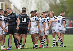 Bristol Bears players shake hands with the Newcastle Falcons after the final whistle - Mandatory by-line: Richard Lee/JMP - 18/05/2019 - RUGBY - Kingston Park Stadium - Newcastle upon Tyne, England - Newcastle Falcons v Bristol Bears - Gallagher Premiership Rugby