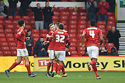 Nottingham Forest midfielder Ben Osborn congratulated by his team mates after his first half goal during the Sky Bet Championship match between Nottingham Forest and Bristol City at the City Ground, Nottingham, England on 27 February 2016. Photo by Jon Hobley.
