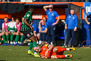 Luton Town forward Danny Hylton on the ground during the EFL Sky Bet League 1 match between Luton Town and Coventry City at Kenilworth Road, Luton, England on 24 February 2019.