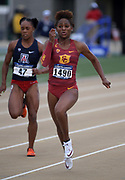 May24, 2018; Sacramento, CA, USA; Deanna Hill of Southern California wins women's 100m heat in 11.22 during the NCAA West Preliminary at Hornet Stadium.