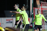 Brighton winger, Jamie Murphy (15) celebrates giving Brighton an early lead during the Sky Bet Championship match between Bristol City and Brighton and Hove Albion at Ashton Gate, Bristol, England on 23 February 2016.