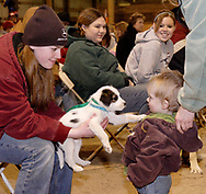 Britney Welch (left) holds 'Bama, a Jack Russell as he says hello to Gabriel Longenecker (right) during the rodeo at Fox Hollow Stables in Waynesville, Saturday, March 3rd.