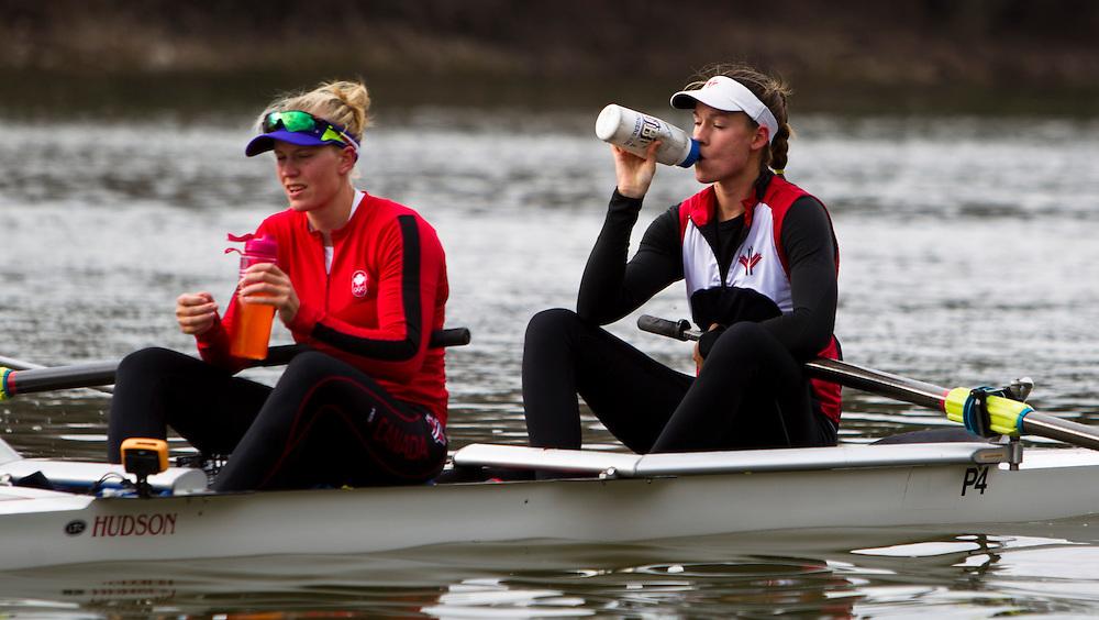Rosie DeBoef National rowing team member trains in the pair at Lake Fanshawe in London, Ontario Canada on April 25th, 2016.