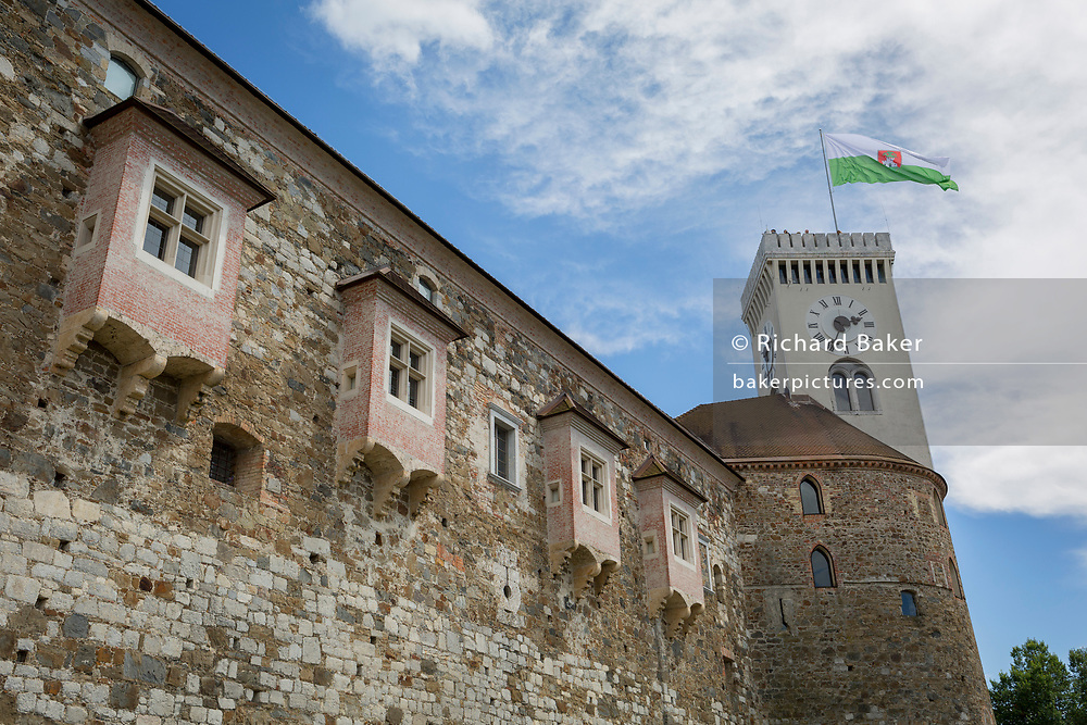 High walls of Ljubljana Castle of the Slovenian capital, on 27th June 2018, in Ljubljana, Slovenia.