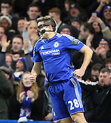 Chelsea defender Cesar Azpilcueta celebrating scoring the first goal of the game during the Barclays Premier League match between Chelsea and West Bromwich Albion at Stamford Bridge, London, England on 13 January 2016. Photo by Matthew Redman.