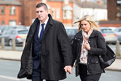 © Licensed to London News Pictures. 13/11/2017. Wakefield UK. Daniel Poole (Nephew of Ann Maguire) arrives at Wakefield Coroners Court this morning. The inquest into the death of Leeds teacher Ann Maguire is starting today at Wakefield Coroners Court. Mrs Maguire, a 61 year old Spanish teacher, was stabbed to death by Will Cornick at Corpus Christi Catholic College in Leeds in April 2014. The school pupil, who was 15 at the time, admitted murdering Mrs Maguire and was given a life sentence later that year. Since then, some of Mrs Maguire's family have campaigned for further investigation into her death as they believe more could have been done to prevent the tragedy. Photo credit: Andrew McCaren/LNP