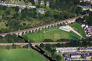 aerial photograph of Copley Viaduct, Copley, Halifax, West Yorkshire.Built in 1852 as part of the Lancashire & Yorkshire Railway it is now Grade II listed.