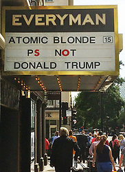 August 14, 2017 - London, London, UK - London, UK. The Everyman Cinema in Baker Street mocks US President Donald Trump on it's billboard for Charlize Theron's movie 'Atomic Blond' (Credit Image: © David Hughes/London News Pictures via ZUMA Wire)