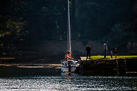 Strangford Lough, N Ireland, UK, yacht, jetty, people, adults, children, 200809271505.<br />