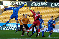Photo: Ed Godden/Sportsbeat Images.<br />Wolverhampton Wanderers v Cardiff City. Coca Cola Championship. 20/01/2007. Cardiff's Steven Thompson (L) jumps high for the ball.