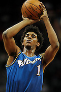 Feb. 13, 2011; Cleveland, OH, USA; Washington Wizards shooting guard Nick Young (1) shoots a free throw during the first quarter against the Cleveland Cavaliers at Quicken Loans Arena. Mandatory Credit: Jason Miller-US PRESSWIRE
