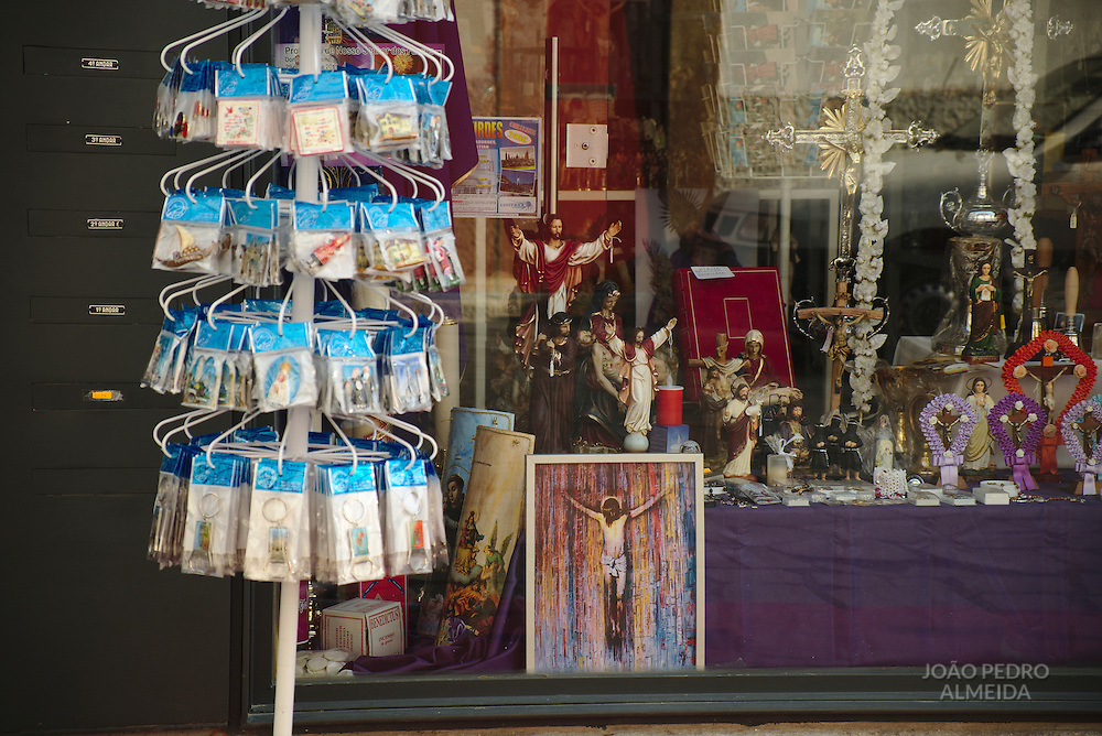 Shop selling religious merchandise, close to Braga's main Cathedral