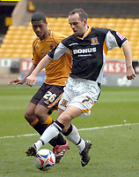 Photo: Ed Godden/Sportsbeat Images.<br />Wolverhampton Wanderers v Hull City. Coca Cola Championship. 09/04/2007. Wolves' Mark Little (L), challenges Stuart Elliott.