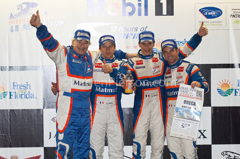 Winners of 59th Annual Mobil 1 12 Hours of Sebring - #10 Team Oreca Matmut Peugeot 908 HDi-FAP: Nicolas Lapierre, Loic Duval, Olivier Panis