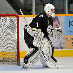 COBOURG, ON - Oct 19: Ontario Junior Hockey League game between Kingston Voyageurs and Trenton Golden Hawks. Victor Adamo #1 of the Trenton Golden Hawks during first period game action..(Photo by Shawn Muir / OJHL Images)