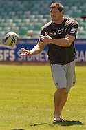SYDNEY, AUSTRALIA, FEBRUARY 24, 2011: UFC fighter Matt Mitrione, a former NFL football player, is pictured on the field during a media event at Sydney Football Stadium in Sydney, Australia on February 24, 2011