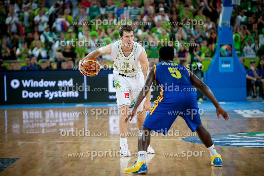 Goran Dragic of Slovenia during basketball match between National teams of Slovenia and Ukraine in ranking of 5th to 8th place at Day 18 of Eurobasket 2013 on September 21, 2013 in SRC Stozice, Ljubljana, Slovenia. (Photo By Urban Urbanc / Sportida)
