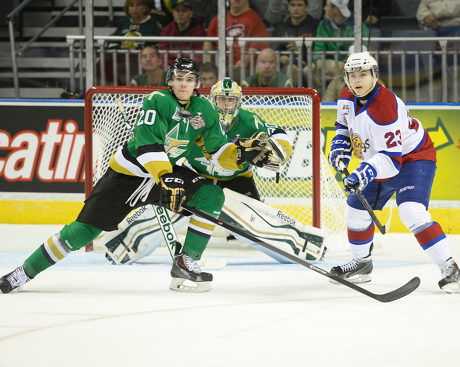 Action from the semi-final game at the 2014 MasterCard Memorial Cup in London, ON on Friday May 23, 2014. Photo by Aaron Bell/CHL Images
