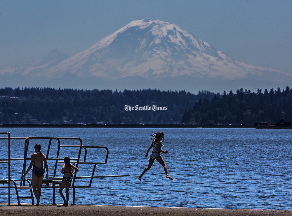 Kids perform off the diving board at Madrona Park on Lake Washington with a large mountain as their audience.<br />