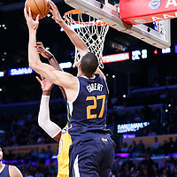 05 December 2016: Utah Jazz center Rudy Gobert (27) grabs a rebound during the Utah Jazz 107-101 victory over the Los Angeles Lakers, at the Staples Center, Los Angeles, California, USA.