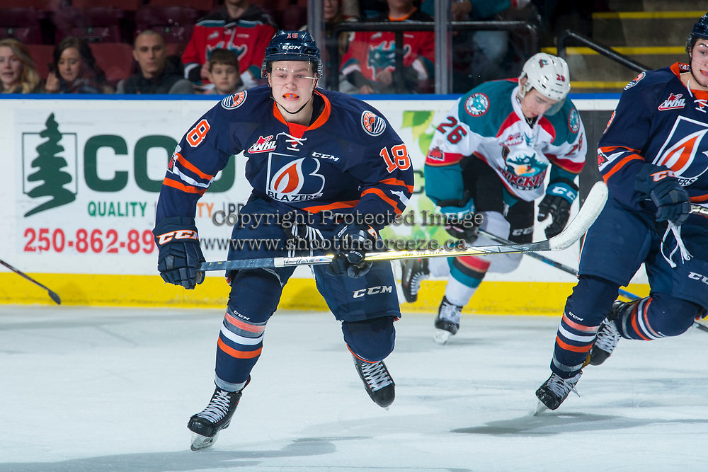 KELOWNA, CANADA - FEBRUARY 24: Connor Zary #18 of the Kamloops Blazers skates against the Kelowna Rockets on February 24, 2018 at Prospera Place in Kelowna, British Columbia, Canada.  (Photo by Marissa Baecker/Shoot the Breeze)  *** Local Caption ***