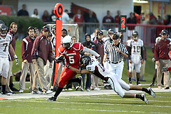 25 September 2010:  Ashton Leggett tries to shake off Derek Miller in front of the Bears bench.  The Missouri State Bears lost to the Illinois State Redbirds 44-41 in double overtime, meeting at Hancock Stadium on the campus of Illinois State University in Normal Illinois.