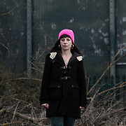 May Mackeith of the Stansted 15. Photographed outside Campsfield Detention Centre, Oxfordshire.